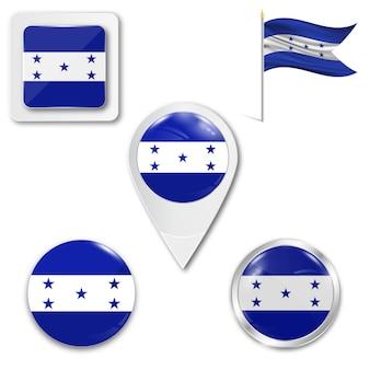 Zestaw ikon flagi narodowej z hondurasu
