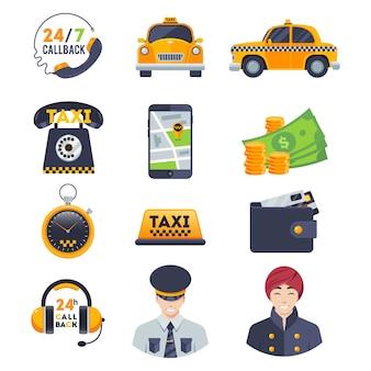 Zestaw ikon flat taxi z kierowcą zamówienia na białym tle