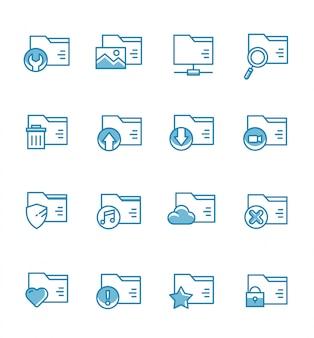 Zestaw ikon folderów w stylu konspektu.
