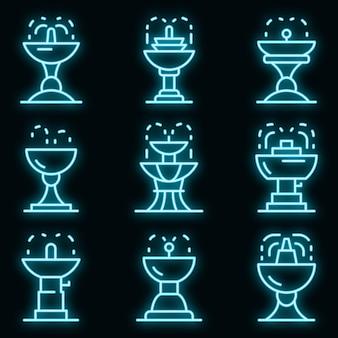 Zestaw ikon fontanny do picia. zarys zestaw ikon wektorowych fontanny do picia w kolorze neonowym na czarno