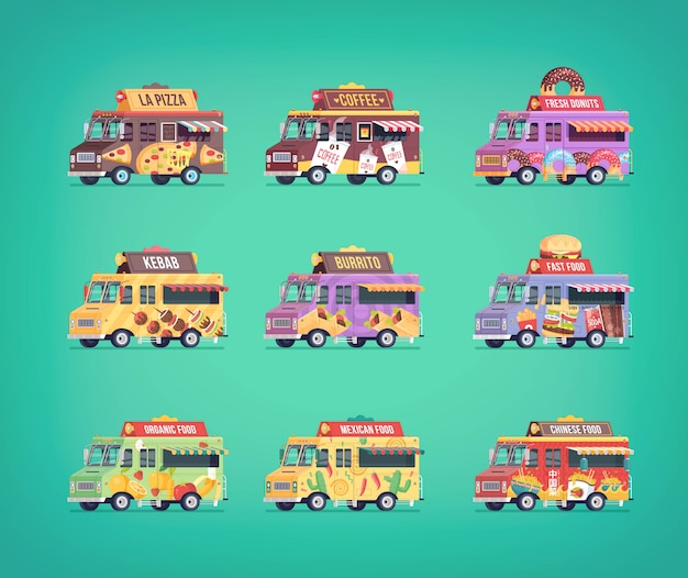 Zestaw ikon food truck. nowoczesne kompozycje koncepcyjne pojazdów dostawczych.