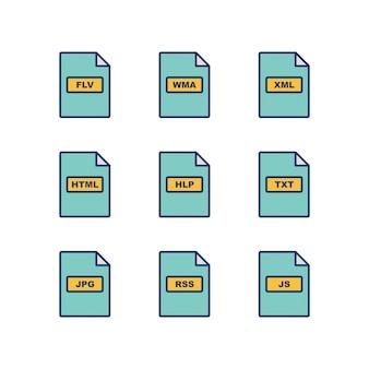 Zestaw ikon formatów plików na białym tle