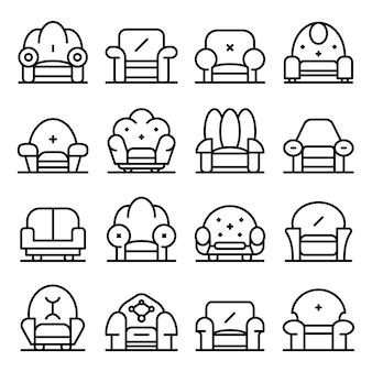 Zestaw ikon fotel, styl konturu