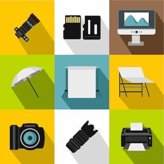 Zestaw ikon fotografii, płaski
