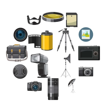Zestaw ikon fotografii, styl catoon
