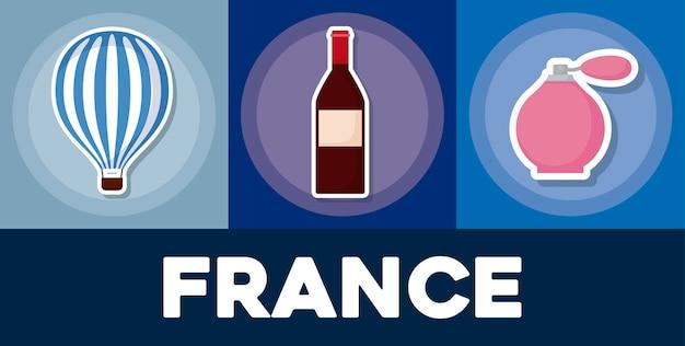 Zestaw ikon francji