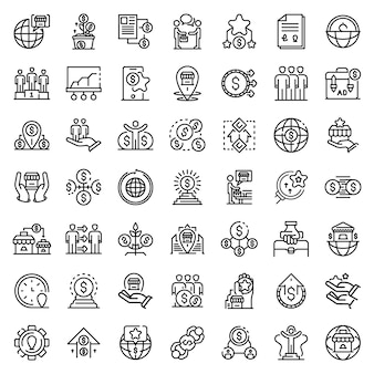 Zestaw ikon franczyzy, styl konturu