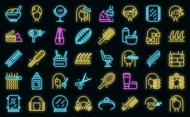 Zestaw ikon fryzury neon wektor