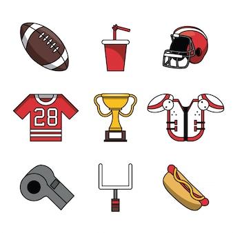 Zestaw ikon futbolu amerykańskiego