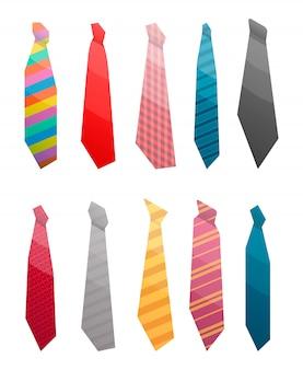 Zestaw ikon garnitur krawat. izometryczny zestaw krawat garnitur wektorowe ikony na projektowanie stron internetowych na białym tle