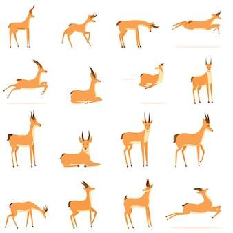 Zestaw ikon gazeli. kreskówka zestaw ikon wektorowych gazeli