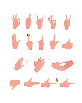 Zestaw ikon gestów dłoni