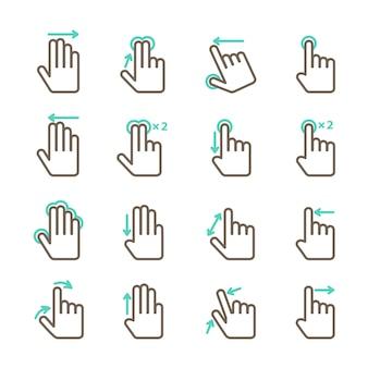 Zestaw ikon gestów ekranu dotykowego dla projektowania aplikacji mobilnych na białym tle ilustracji wektorowych