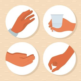 Zestaw ikon gestów rąk