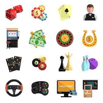 Zestaw ikon gier hazardowych w kasynie płaskie