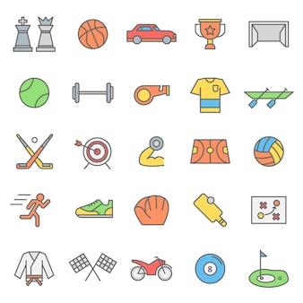 Zestaw ikon gier sportowych z nowoczesnym pojęciem