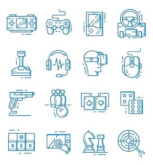 Zestaw ikon gier w stylu konspektu