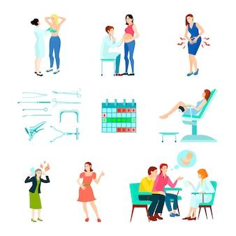 Zestaw ikon ginekologii kolorowy ginekolog płaski i na białym tle z kobietą w recepcji lekarzy