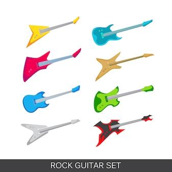 Zestaw ikon gitara elektryczna i akustyczna. Obejmuje obrazy różnych gitar