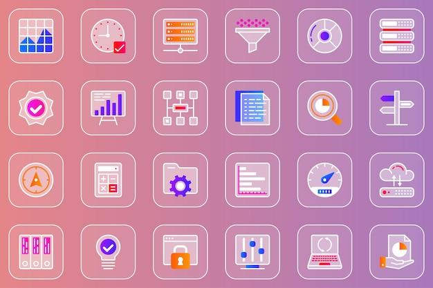 Zestaw ikon glassmorphic do analizy dużych danych internetowych