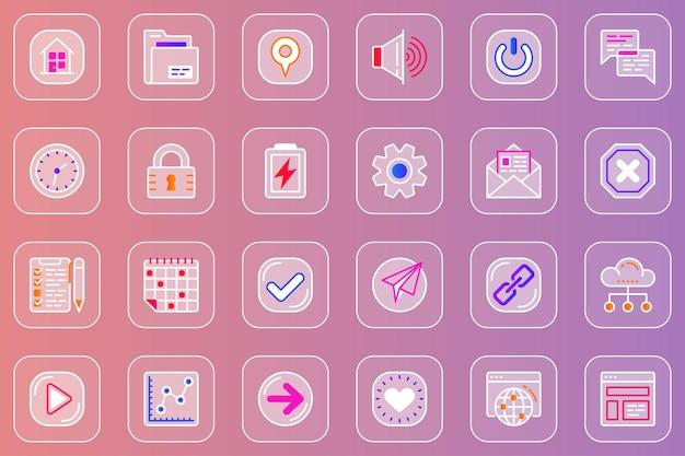 Zestaw ikon glassmorphic interfejsu użytkownika w sieci
