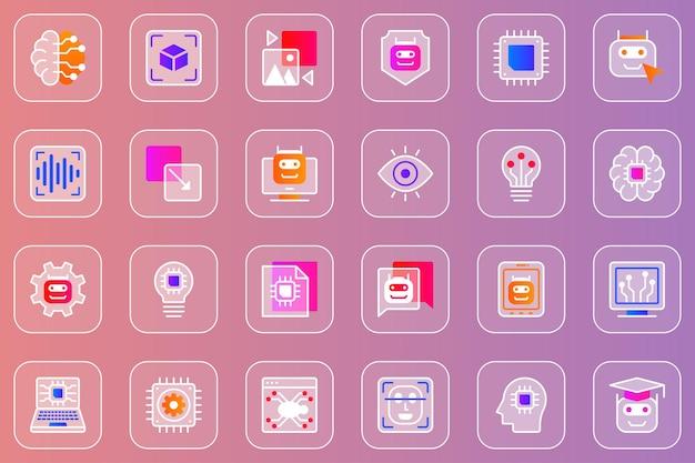 Zestaw ikon glassmorphic internetowej sztucznej inteligencji