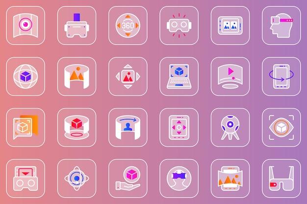 Zestaw ikon glassmorphic w sieci wirtualnej rzeczywistości