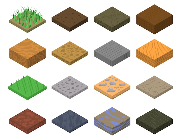 Zestaw ikon gleby, izometryczny styl