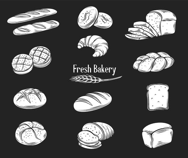 Zestaw ikon glifów chleba. żyto, pieczywo pełnoziarniste i pszenne, ciabatta, rogalik, pieczywo tostowe, bagietka francuska.