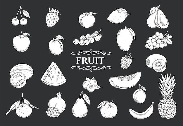 Zestaw ikon glifów owoców. dekoracyjna kolekcja w stylu retro na białym tle owoce i jagody do sklepu