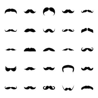 Zestaw ikon glifów zestaw wąsów