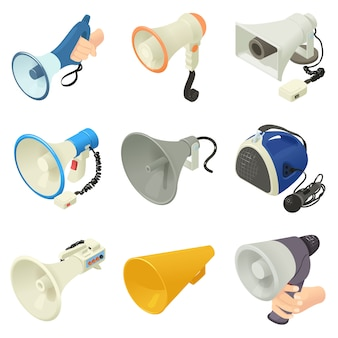 Zestaw ikon głośnika megafon. izometryczne ilustracja 16 ikon megafon głośnika alkoholu logo wektor dla sieci web