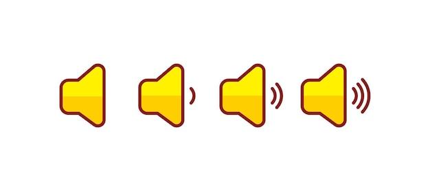 Zestaw ikon głośności żółte ikony głośności dźwiękowe ilustracja kreskówka sztuki