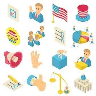 Zestaw ikon głosowania wyborów. izometryczne ilustracja 16 wyborów głosowania ikony zestaw ikon wektorowych dla sieci web
