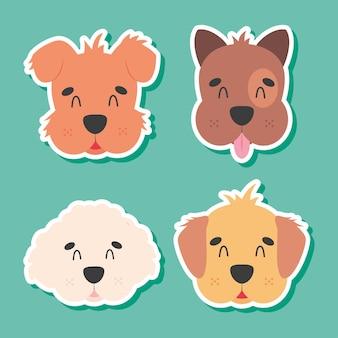 Zestaw ikon głowy słodkie psy