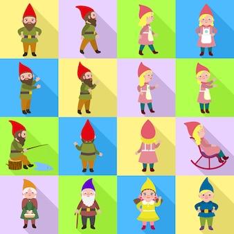 Zestaw ikon gnomów. płaski zestaw wektor gnome