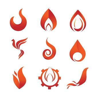 Zestaw ikon godło elementu ognia