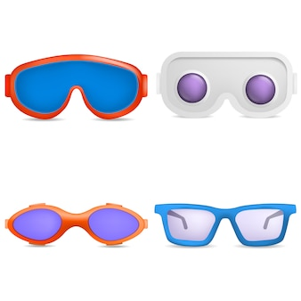 Zestaw ikon gogle narciarskie maski szklane. realistyczna ilustracja 9 gogle narty szklane maski wektorowe ikony dla sieci