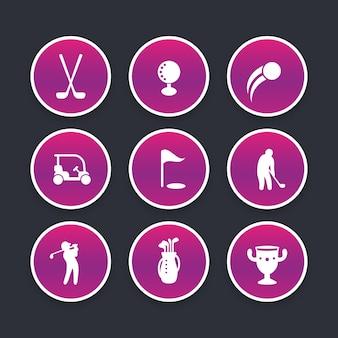 Zestaw ikon golfa, kije, gracz, golfista, torba golfowa, modne okrągłe piktogramy, ilustracji wektorowych