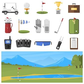Zestaw ikon golfa na białym tle