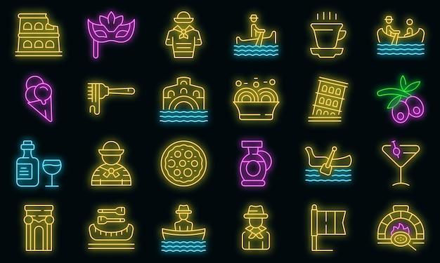 Zestaw ikon gondoliera wektor neon