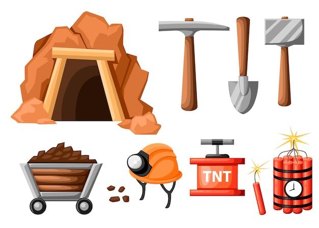 Zestaw ikon górnictwa. wejście do kopalni oraz narzędzia do górnictwa i wydobywania. tunel retro. stara kopalnia. ilustracja na białym tle