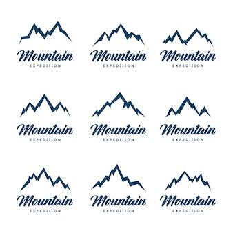 Zestaw ikon górskich kształtów. pojedynczo na białym tle