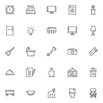 Zestaw ikon gospodarstwa domowego, z ikoną stylu konspektu