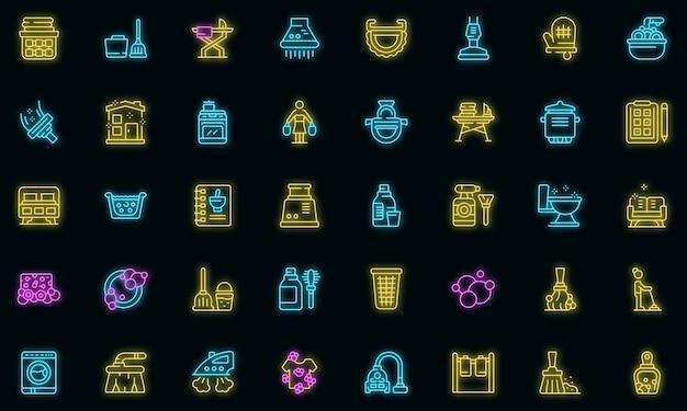 Zestaw ikon gospodyni neon wektor