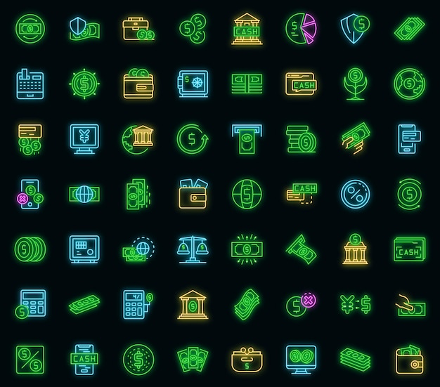 Zestaw ikon gotówki banku. zarys zestaw ikon wektorowych gotówki bankowej w kolorze neonowym na czarno