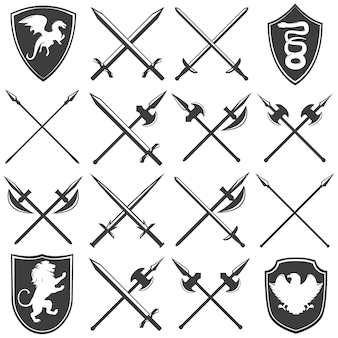 Zestaw ikon graficznych heraldyczny zbrojownia