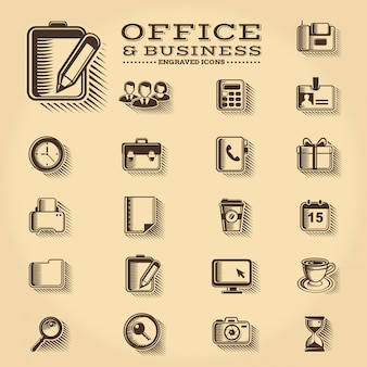 Zestaw ikon grawerowane office i business