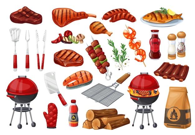 Zestaw ikon grill party, grill, grill lub piknik. łosoś z grilla, kiełbasa, warzywa, stek mięsny i krewetki. ilustracja wektorowa narzędzia do grillowania