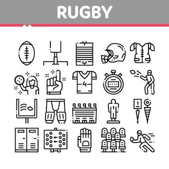 Zestaw ikon gry sportowe rugby kolekcja ikon